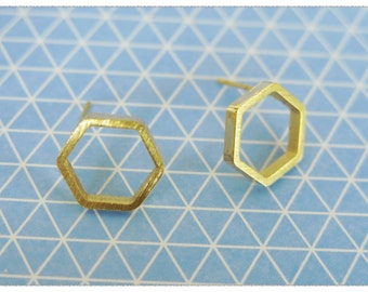 Modern Gold Hexagon Stud Earrings