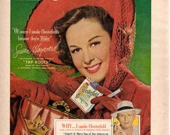 1940s Chesterfield cigarettes and Susan hayward vintage magazine ad wall decor man cave gift
