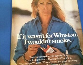 1970s Winston cigarettes with a woman spokesperson Vintage magazine ad wall decor art man cave