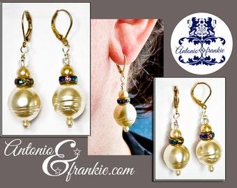 Pearl Rhinestone Drop Earrings
