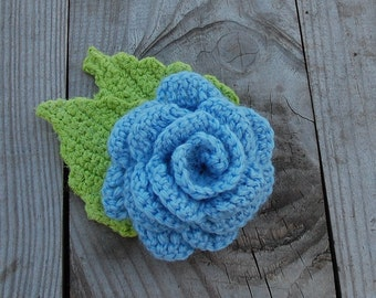 Blue Flower, Crochet Flower, Knit Rose, Rose Brooch