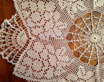 Vintage Tabletop Crocheted Doilie