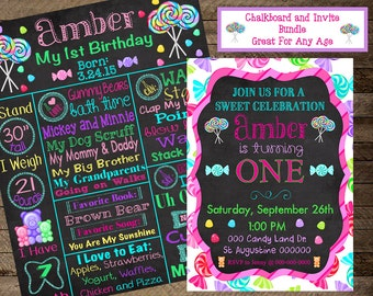 First Birthday candy chalkboard, candy invite, candy invitation, candy theme birthday party, candyland, lollipop, candy first birthday, 2nd