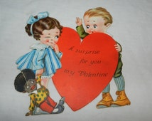Girl with African American Doll - Vintage Valentines card - A Surprise for You My Valentine - Collectible Ephemera Greeting card      2-28-3