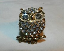 """Vintage Owl Ring - Rhinestone or crystal Costume Jewelry Ring - owl is about 1 5/16"""" tall - Unknown maker Nature, Animals, Bird Brooch 23-39"""