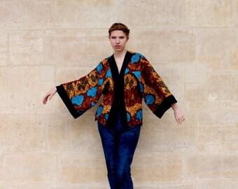 Kimono sleeve long pattern wax tree