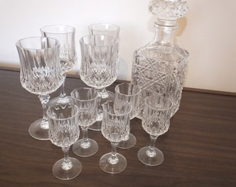 Vintage Crystal 9 hexagonal Glasses and Decanter.