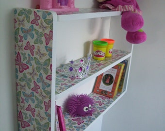50cm H x 74cm W Childrens White Butterfly Bedroom Shelves, Bookcase, Toy Storage.