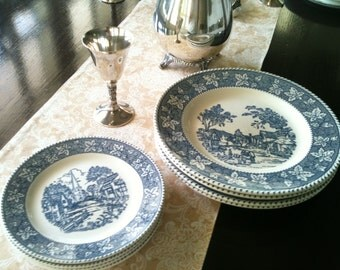 8 piece Stratwood Collection Shakespeare Country blue and white transfer ware plates made in USA