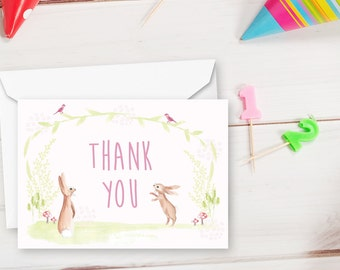Set of 8 thank you cards, bunny thank you cards, bunny party thank you cards
