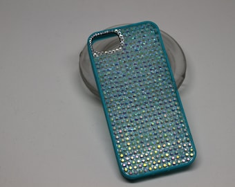 turquoise iridescent rhinestone crystal iphone5s iphone 5s phone case wedding bling one of a kind