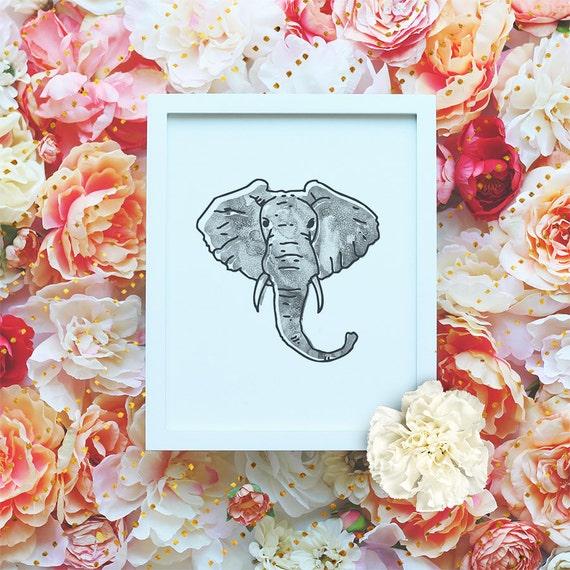 Elephant printable poster, Nursery Printable Wall Art, Animal Printable, Modern Wall Art, Minimalist Poster, Watercolor Print DIGITAL FILE
