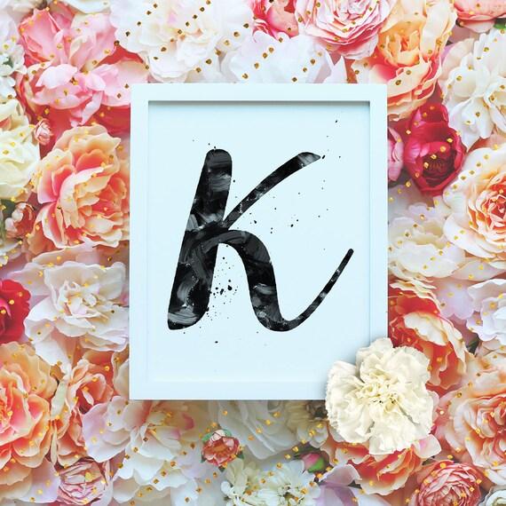 "Monogram Letter ""K"" Printable Wall Art - 8x10"" - ""K"" Name Art Print- Initial Poster- B&W Typographic Monogram - Dorm Decor"