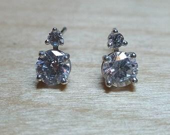 Round Cubic Zirconia Sterling Silver Stud Earrings