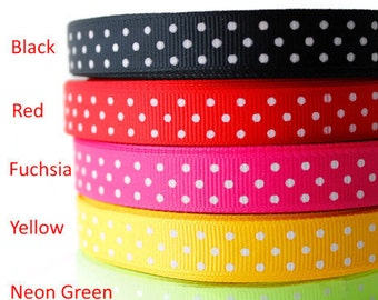 """Grosgrain ribbon, polka dot, 1/2 """" Grosgrain, small polka dot, 5 colours, Gift wrapping, Dressmaking, Sewing, Crafting, by the yard"""