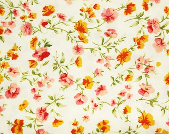 Japanese Fabric, Japanese Floral Fabric, Floral Fabric, Cotton, Off White, Pretty, Dressmaking, Quilting, Patchwork, Sewing, Wide,Half Metre