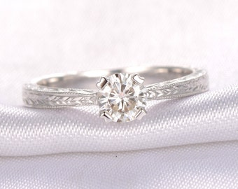 5mm Round Cut Forever Brilliant Moissanite Engagement ring,14k White gold,Milgrain Band,Personalized for her/him,Custom ring