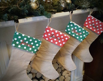 Monogrammed or embroidered name personalized Christmas stocking.