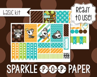 Raccoon Cutie Weekly Layout Stickers for MAMBI Happy Planner