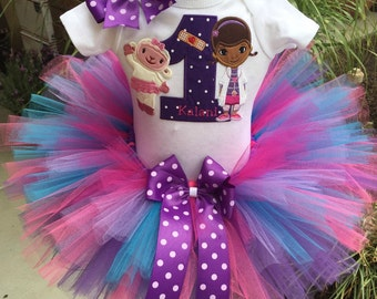 Doc McStuffins and Lambie Birthday Tutu Outfit Dress Set Handmade in Purple Brights 1st 2nd 3rd