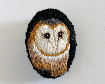 Owl Brooch. Hand Embroidered Pin, Vintage, Quirky Design