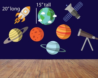 Outer space wall decals, Baby wall decals, Boy's room decal, Planet decals, Planet stickers, Baby room stickers, Rocket ship decals, Planets