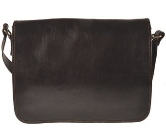 Leather Messenger - Dark Brown - LBFY5004