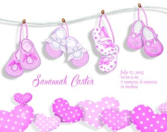 Stretched Canvas Baby Girl Birth Announcement Birth Stats New Baby Gift Nursery Artwork Pink Hearts Length Weight