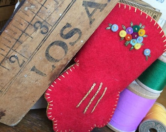 Wool | Felt | Needle Book | Pincushion | Embroidery | Sewing | Quilting | Flowers | Glove | Decor | Nursery | Girl | Mother's Day | Red |