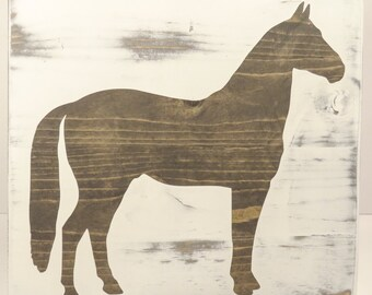 Horse Silhouette - Hand Painted - Custom Wooden Sign - Wall Decor