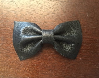 Black Leather Barrette Hair Bow