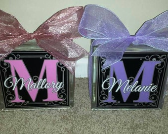 Personalized 8x8 lighted glass block many colors