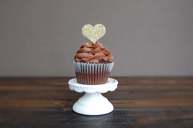 Heart Cupcake Topper Bridal Shower Decorations Wedding Cupcake