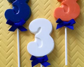 NUMBER THREE Chocolate Pops (12)- 3rd BIRTHDAY/Third Birthday