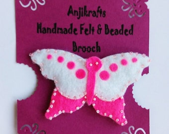 Butterfly brooch - pink & white