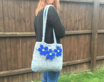 SALE - Knitted felt bag with flower detail