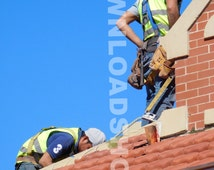 construction, download, digital, man, roof, shingles, working, harness, tile, decorative, brick, building, belt