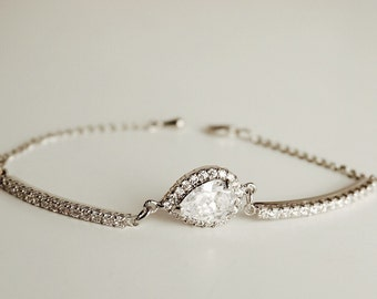 Bridesmaids Jewelry, Bridesmaids bracelet, wedding bracelet, bridal jewelry, wedding accessories, cubic zirconia bracelet