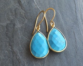 Gold turquoise earrings / Turquoise teardrop dangles / 18k Gold plated sterling silver / Faceted turquoise pear shape gold bezels