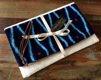 Makeforgood Handmade Fold Over Clutch, Vintage Japanese Indigo and Hemp Linen