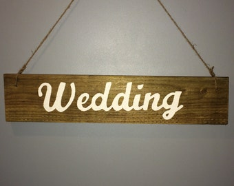 Wooden rustic wedding party sign. For Bride and Groom or Mr and Mrs