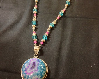 agate and glass bead necklace