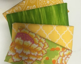 Four fat quarter bundle - yellow and green