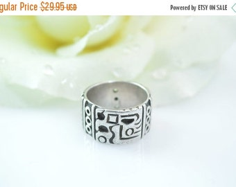 1 Day Sale Broad Abstract Tribal Band Ring Size 6 Sterling Silver 7.3g Vintage Estate