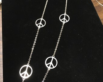 Vintage Aeropastle Peace Sign Necklace, Silvertone