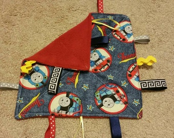 Thomas the train-teething toy- sensory toy-security blanket- crinkle toy- baby shower gift
