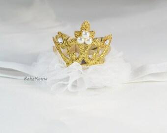 baby headband, crown headband, glitter crown headband, baby headbands, princess tiara, baby crown headband, gold crown, newborn headband