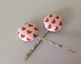 Heart fabric covered button bobby pin pair