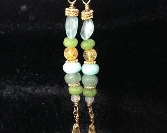 Brass and gemstone earrings