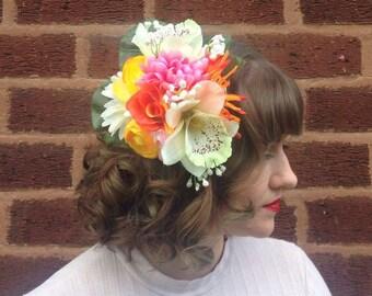 Summer Sherbet - Vintage 1940s Style Flower Hairpiece